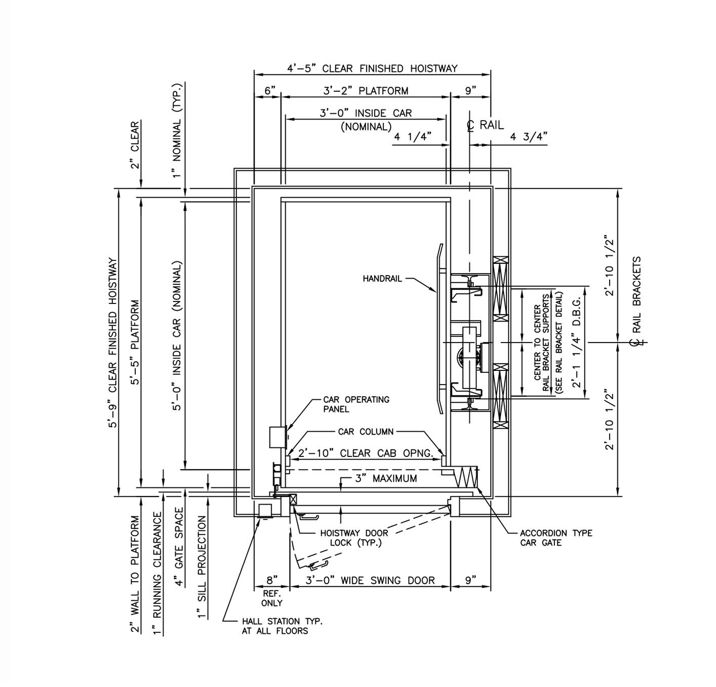 Home elevator dimensions - Il 1 950lb 40x54