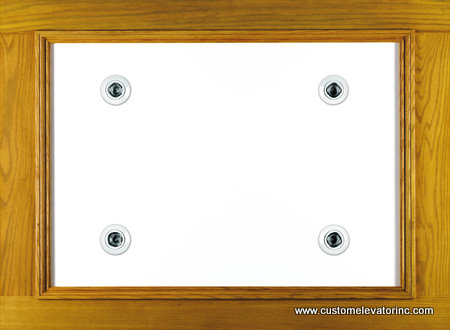 The C-10 ceiling offers a solid oak and veneer with white melamine recessed panel with choice of stain and lacquer finish border including (4) miniature low voltage recessed down lights with white trim rings.