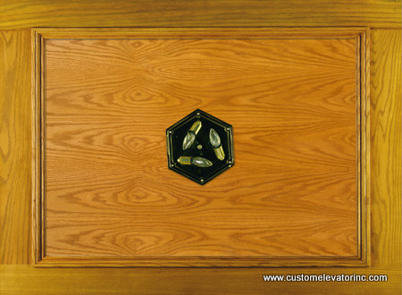 The C-11 ceiling offers a solid oak and veneer recessed panel with choice of stain or solid color lacquer finish including 10 in. diameter, polished brass, (6) sided, beveled glass light fixture.