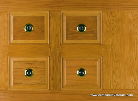 The C-12 ceiling offers a solid oak and veneer raised panel with choice of stain or solid color lacquer finish including (4) miniature low voltage recessed down lights with polished brass trim rings.