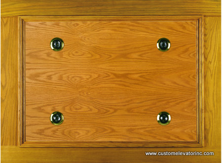 The C-8 ceiling offers a solid oak and veneer recessed panel with choice of stain or solid color lacquer finish including (4) miniature low voltage recessed down lights with polished brass trim rings.