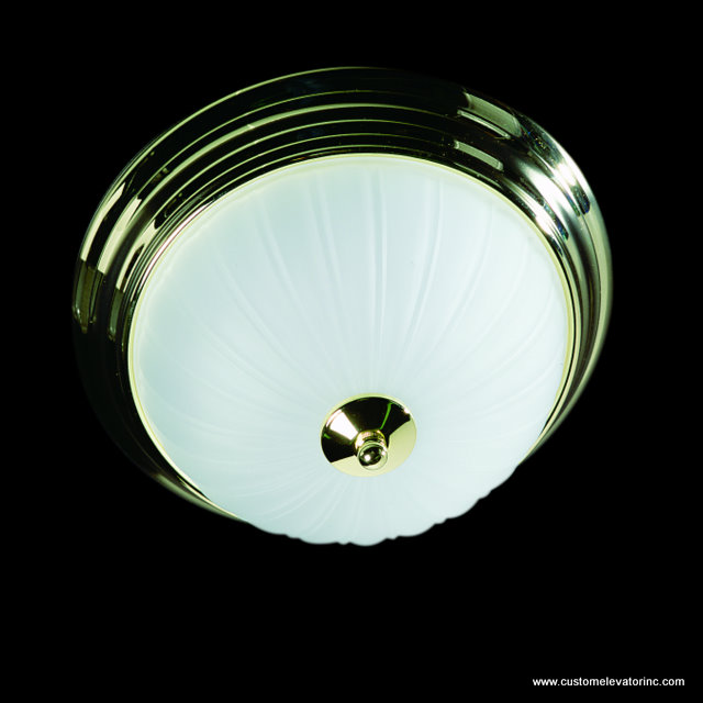 12 in. diameter, polished brass, frosted white glass light fixture
