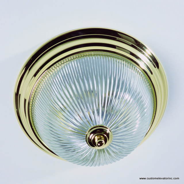 13 in. diameter, polished brass, clear ribbed glass light fixture