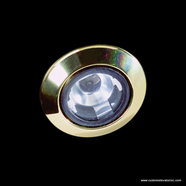 Miniature low voltage down light with polished brass trim ring