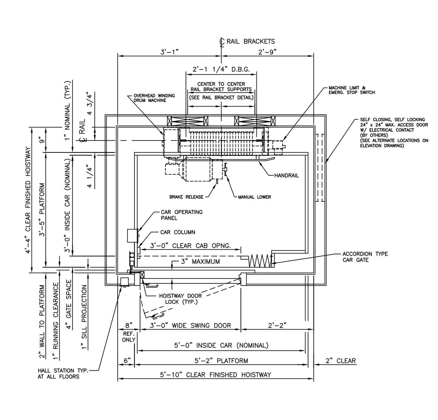 Elevators dwg detail for autocad designscad elevator for Elevator plan drawing